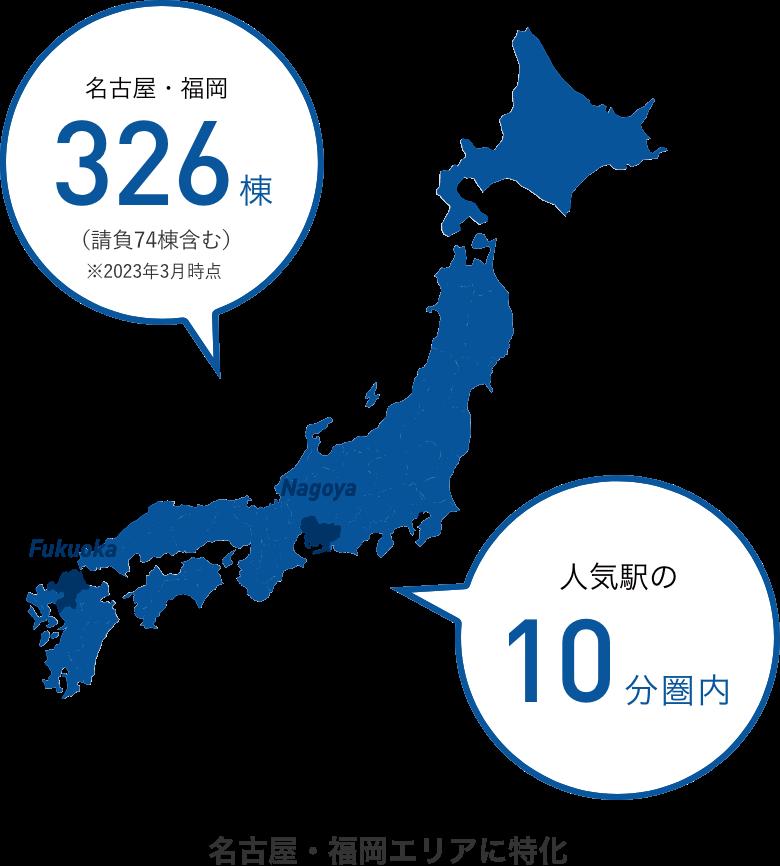 名古屋・福岡 250棟以上 人気の10分圏内